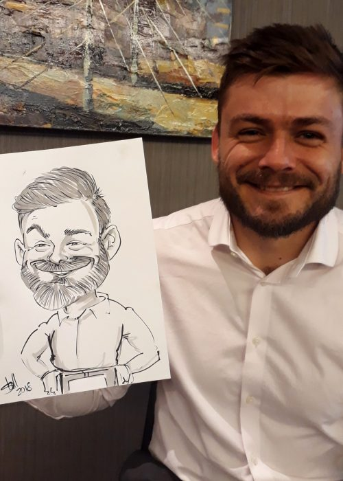 Live black and white caricature drawing in 5 min per person